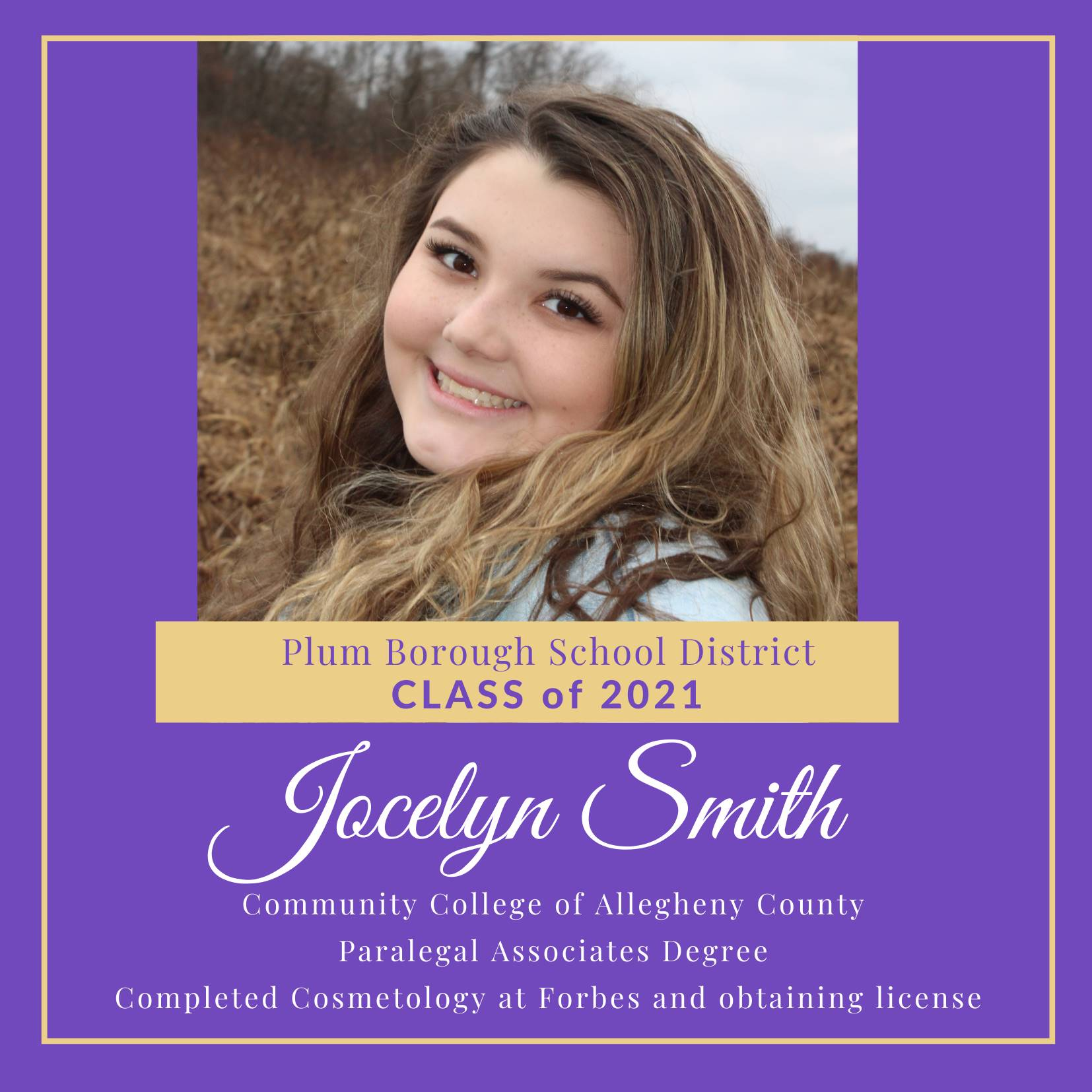 Congratulations to Jocelyn Smith, Class of 2021!