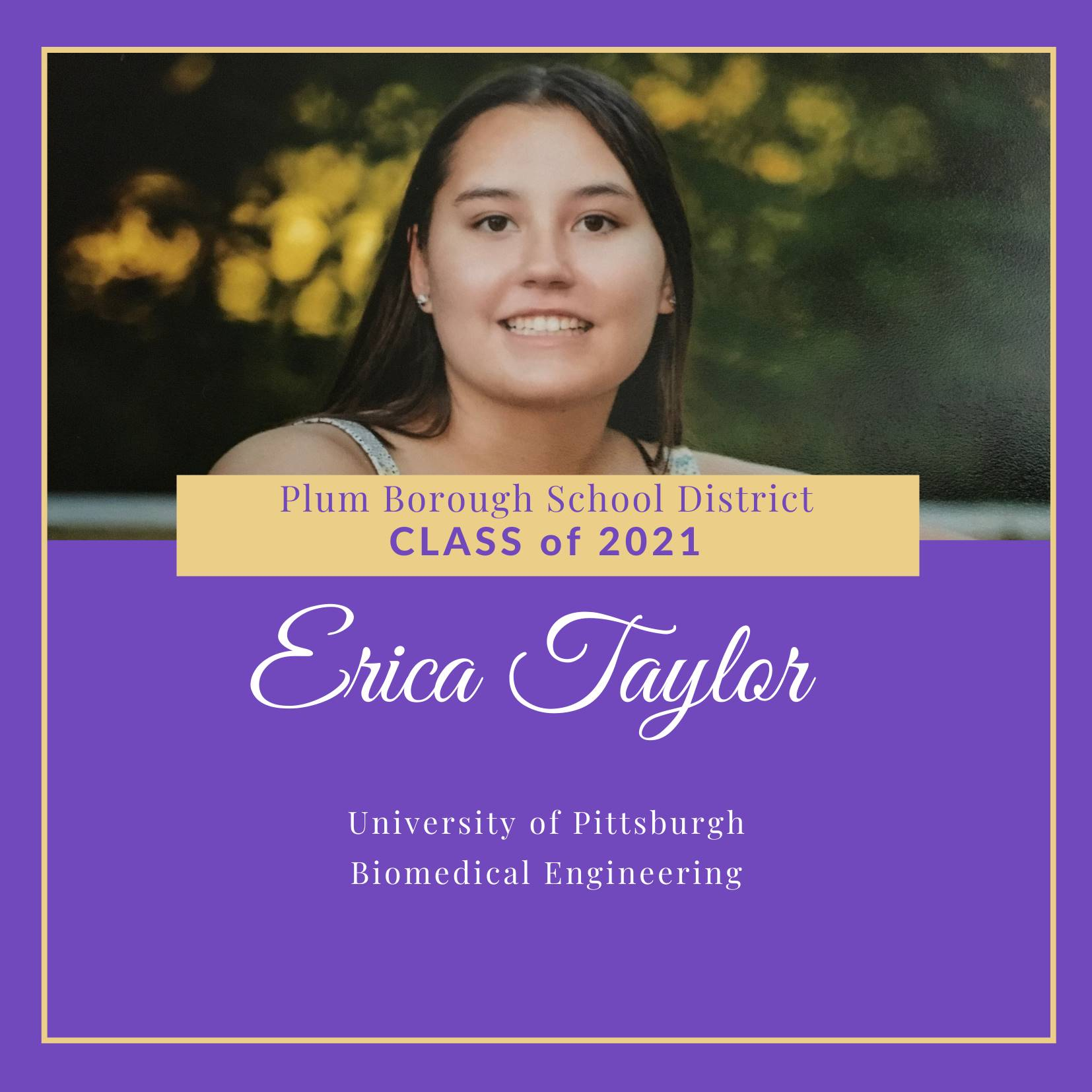 Congratulations to Erin Taylor, Class of 2021!