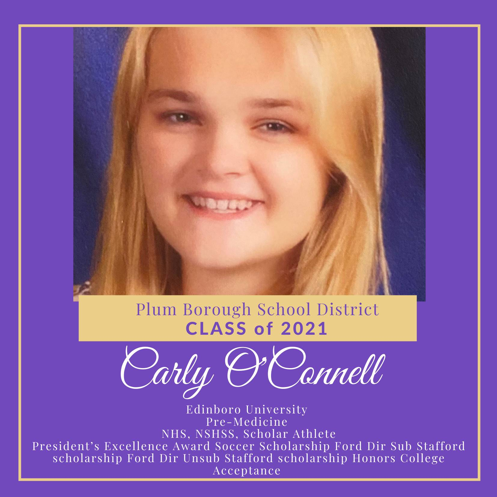 Congratulations to Carly O'Connell, Class of 2021!