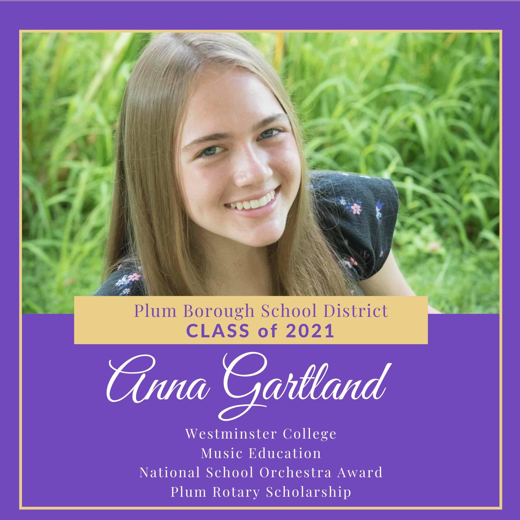 Congratulations to Anna Gartland, Class of 2021!