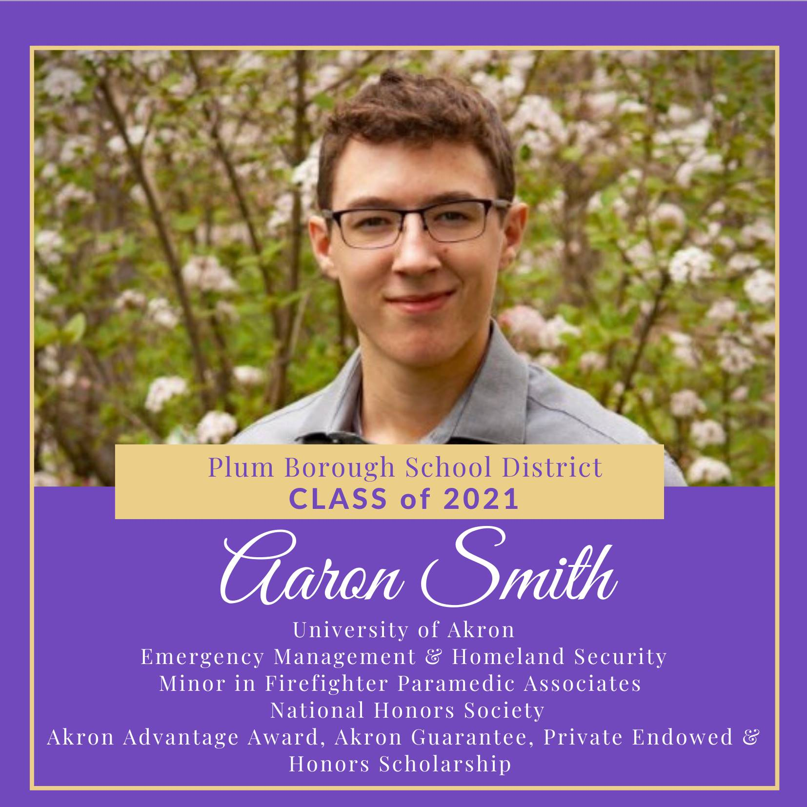 Congratulations to Aaron Smith, Class of 2021!
