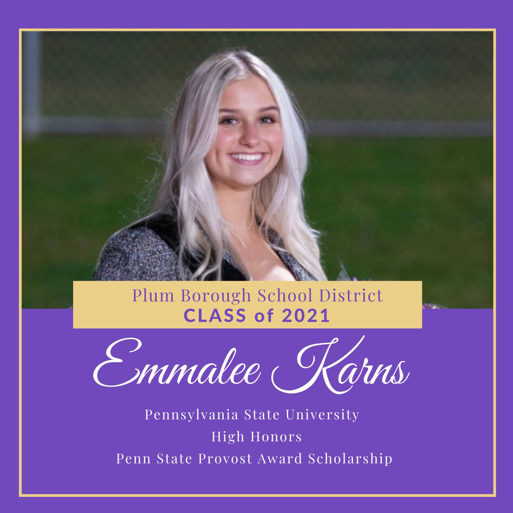 Congratulations to Emmalee Karns, Class of 2021!