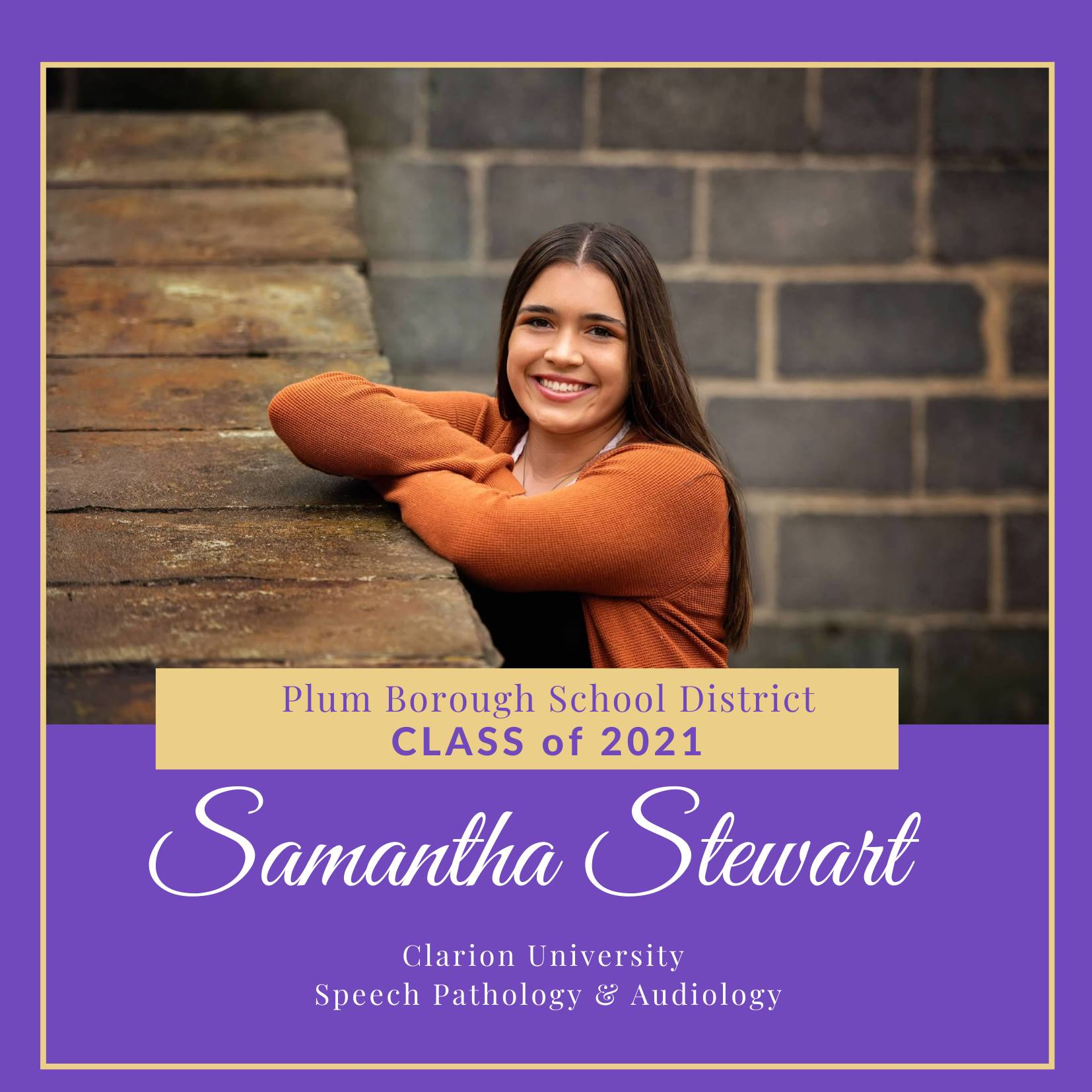 Congratulations to Samantha Stewart, Class of 2021!