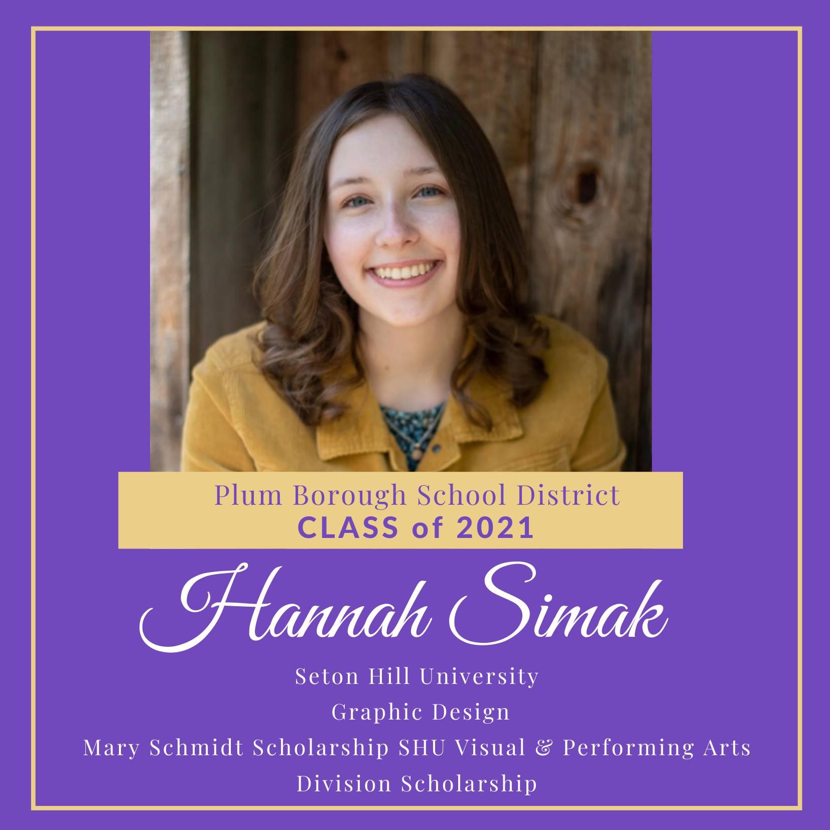 Congratulations to Hannah Simak, Class of 2021!