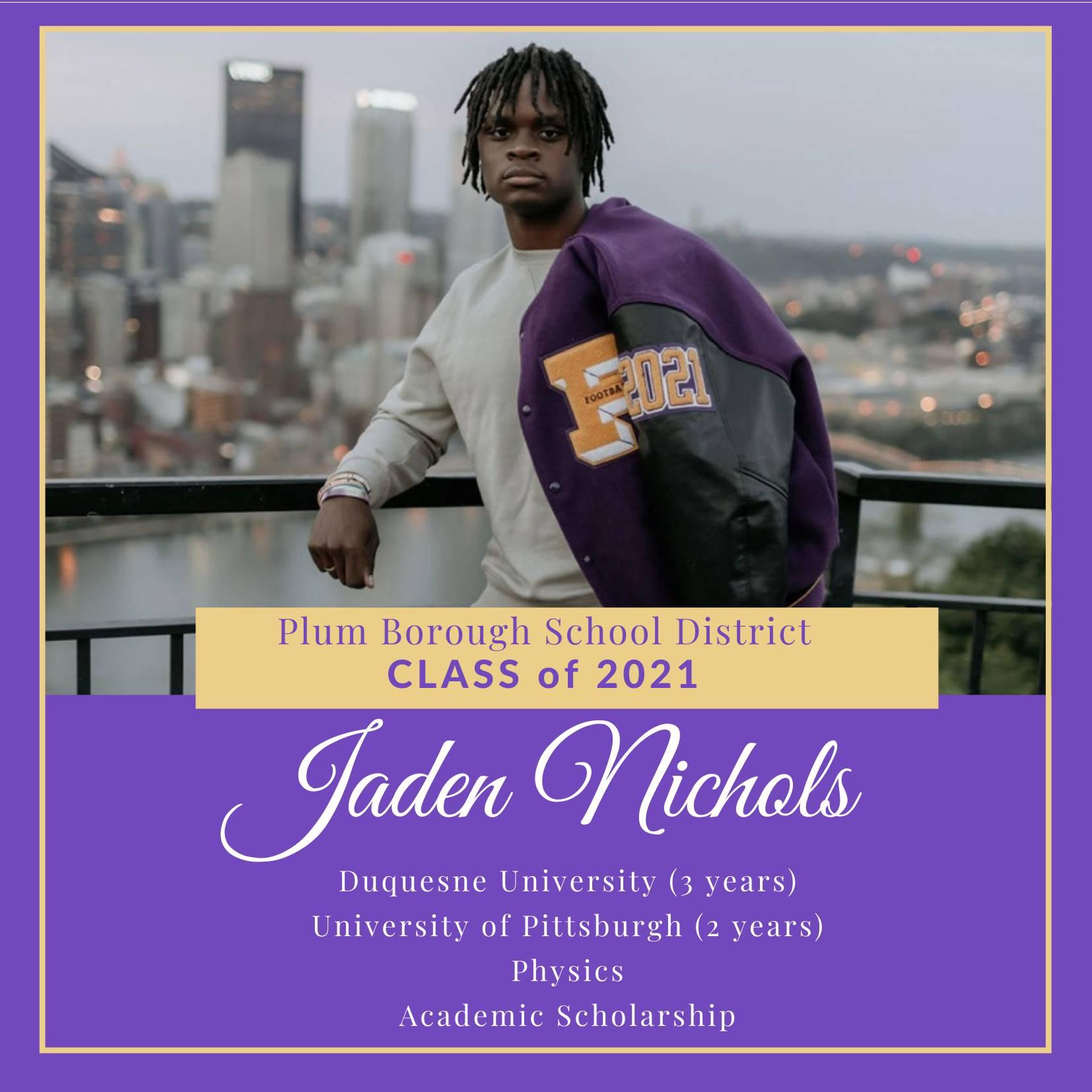 Congratulations to Jaden Nichols, Class of 2021!