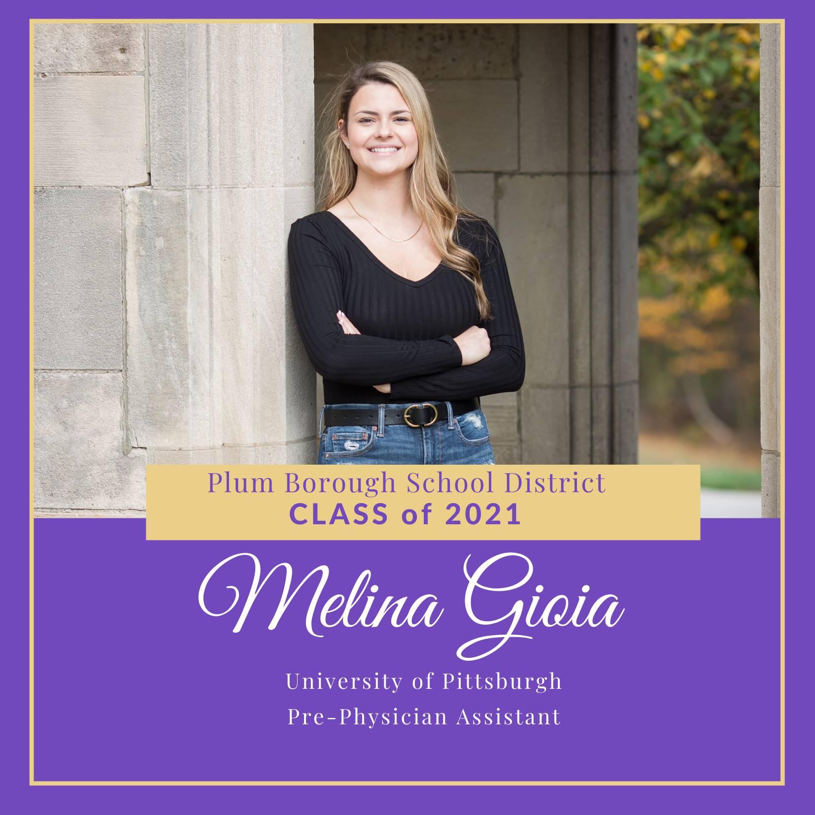 Congratulations to Melina Gioia, Class of 2021!