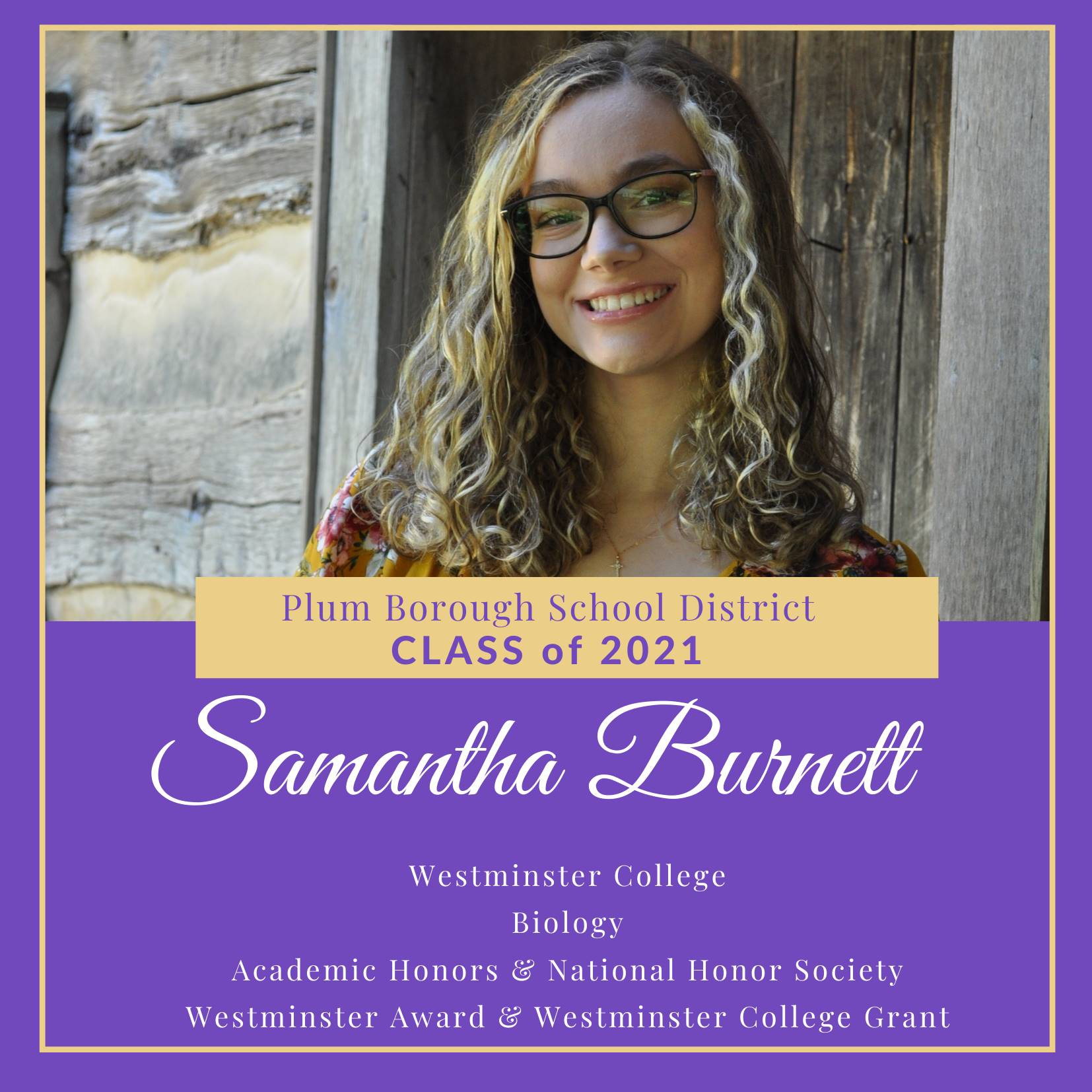 Congratulations to Samantha Burnett, Class of 2021!