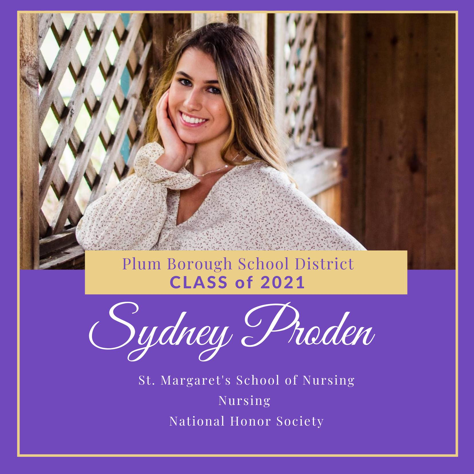 Congratulations to Sydney Proden, Class of 2021!