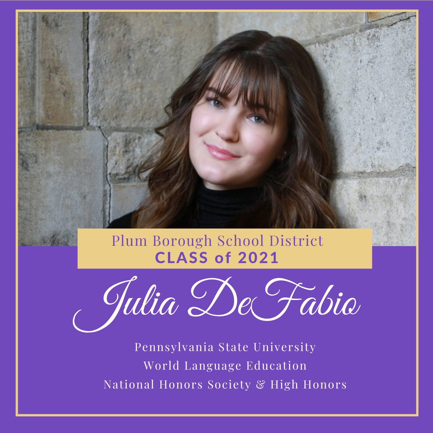 Congratulations to Julia DeFabio, Class of 2021!