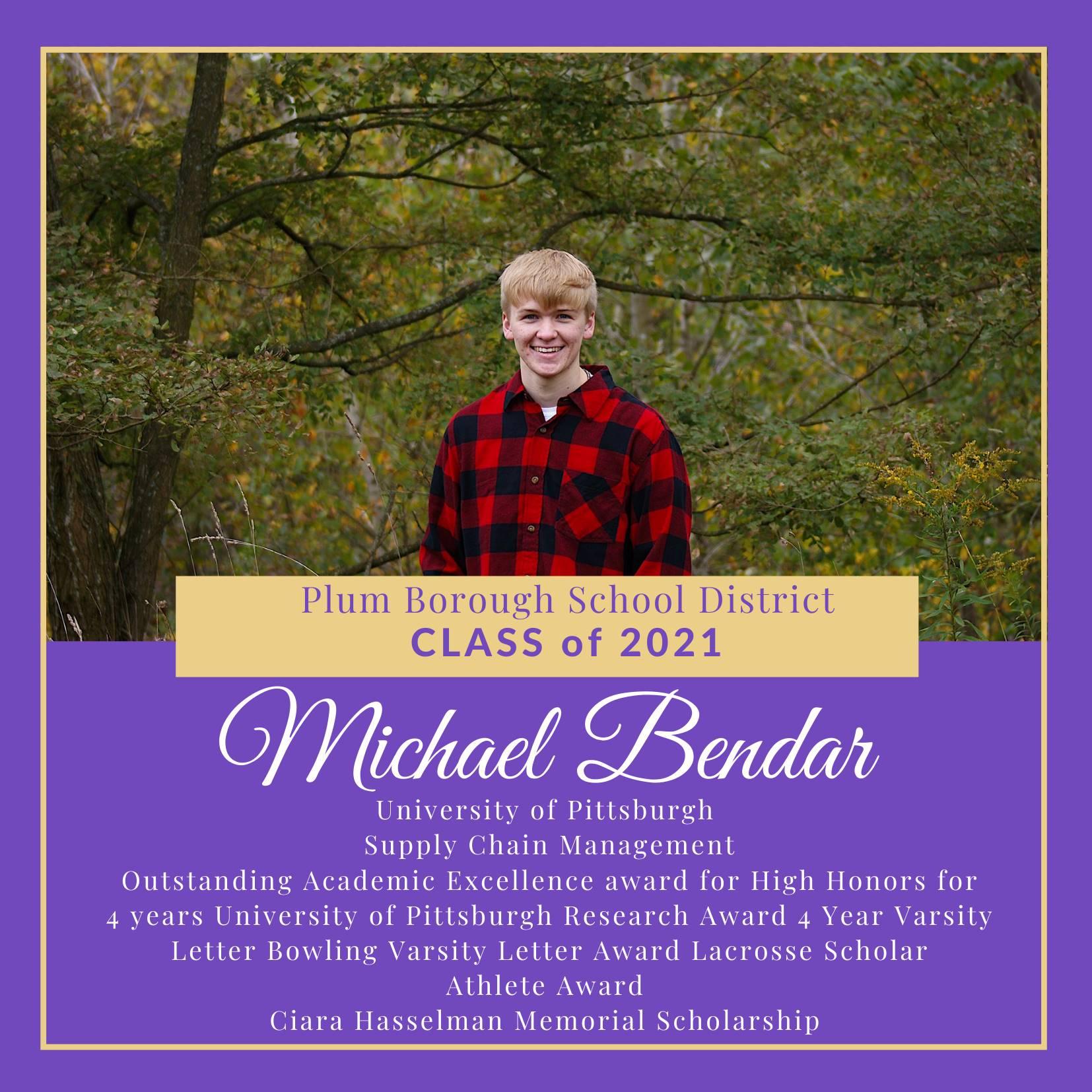 Congratulations to Michael Bendar, Class of 2021!