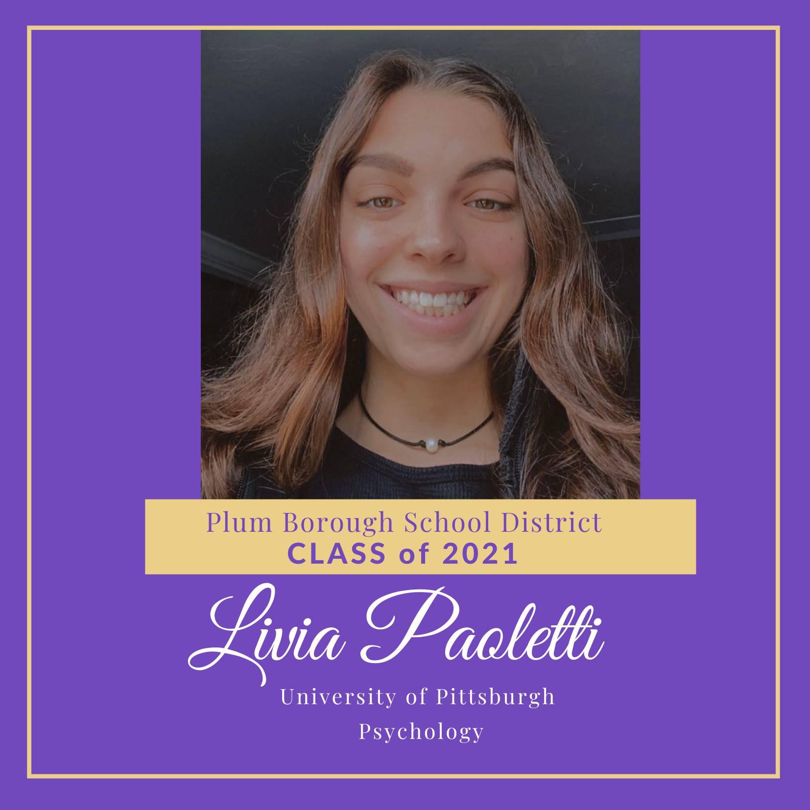 Congratulations to Livia Paoletti, Class of 2021!