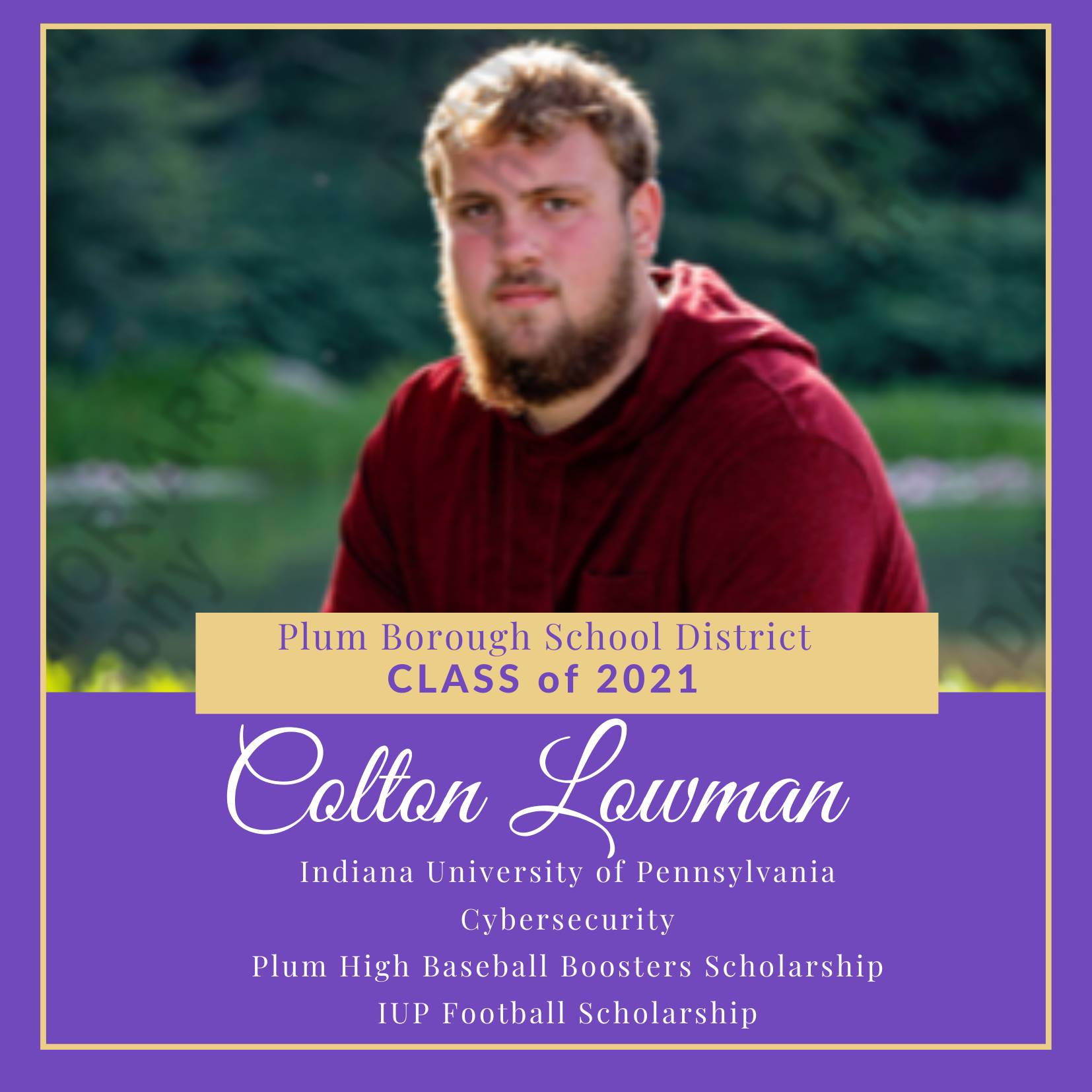 Congratulations to Colton Lowman, Class of 2021!