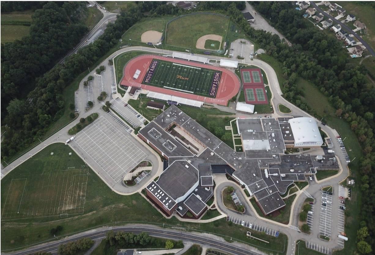 Aerial view of Plum Senior High School